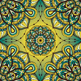 Colorful ornament  with mandalas. Seamless  ornate pattern with mandalas. Template for textiles, shawl, carpet, bandana, tile. Oriental filigree yellow and blue Stock Photo
