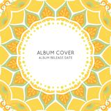 Colorful Ornamental Album Cover Template. With round beautiful sun consisting of elegant leaves in yellow colors vector illustration Stock Image