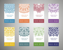 Colorful ornamental ethnic banner set. Templates with doodle tribal mandalas Royalty Free Stock Photography
