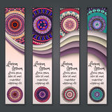 Colorful ornamental ethnic banner set. Templates with wavy elements and tribal mandala. Stock Photography