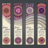 Colorful ornamental ethnic banner set. Templates with wavy elements and tribal mandala. Royalty Free Stock Photo