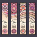 Colorful ornamental ethnic banner set. Templates with wavy elements and tribal mandala. Vector illustration Royalty Free Stock Photos