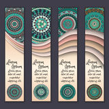 Colorful ornamental ethnic banner set. Templates with wavy elements and tribal mandala. Stock Photos