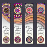 Colorful ornamental ethnic banner set. Templates with wavy elements and tribal mandala. Stock Image