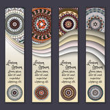 Colorful ornamental ethnic banner set. Templates with wavy elements and tribal mandala. Vector illustration Royalty Free Stock Photo