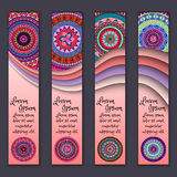 Colorful ornamental ethnic banner set. Templates with wavy elements and tribal mandala. Vector illustration Stock Photo