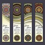 Colorful ornamental ethnic banner set. Templates with wavy elements and tribal mandala. Vector illustration Stock Photos