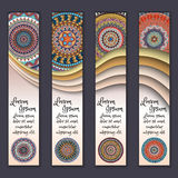 Colorful ornamental ethnic banner set. Templates with wavy elements and tribal mandala. Vector illustration Stock Image