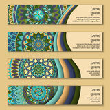 Colorful ornamental ethnic banner set. Templates with wavy elements and tribal mandala. Stock Photo
