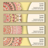Colorful ornamental ethnic banner set. Templates with wavy elements and tribal mandala. Vector illustration Royalty Free Stock Image