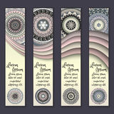 Colorful ornamental ethnic banner set. Templates with wavy elements and tribal mandala. Royalty Free Stock Images
