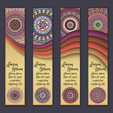 Colorful ornamental ethnic banner set. Templates with wavy elements and tribal mandala. Stock Images