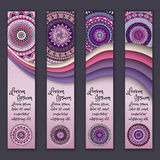 Colorful ornamental ethnic banner set. Templates with wavy elements and tribal mandala. Royalty Free Stock Image