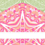 Colorful ornamental ethnic card with mandala. Template with doodle tribal mandala. Vector illustration. Can be used for wedding invitation design and other stock illustration