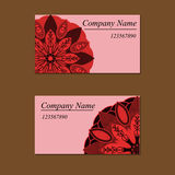 Colorful ornamental ethnic cards set. Templates with doodle Stock Photography