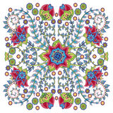 Colorful ornamental floral paisley shawl, bandanna, pillow, scarf. Square pattern Stock Photo