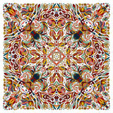 Colorful ornamental floral paisley shawl, bandanna. Square pattern. Colorful ornamental floral paisley shawl, bandanna, pillow, scarf. Square pattern. Detailed stock illustration