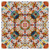 Colorful ornamental floral paisley shawl, bandanna. Square pattern. Colorful ornamental floral paisley shawl, bandanna, pillow, scarf. Square pattern. Detailed Royalty Free Stock Photos