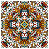 Colorful ornamental floral paisley shawl, bandanna. Square pattern. Royalty Free Stock Image