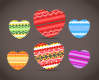 Colorful ornamental hearts collection Royalty Free Stock Photo
