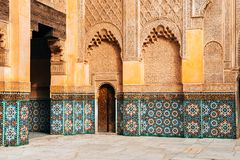 Colorful ornamental tiles at moroccan courtyard stock photography