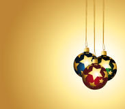 Colorful ornaments on a golden festive background. Royalty Free Stock Photo