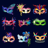 Colorful Ornate Carnival Masks Set. With laces flowers feathers and jewels on dark background isolated vector illustration Stock Image