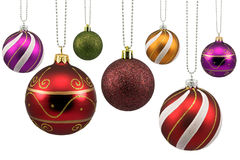 Colorful ornate christmas baubles Royalty Free Stock Photos