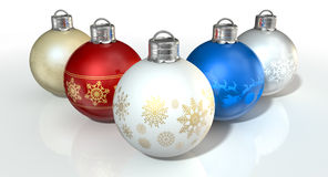 Colorful Ornate Christmas Baubles Stock Image