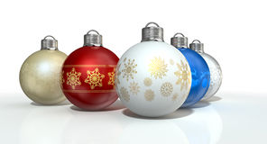 Colorful Ornate Christmas Baubles Stock Photography