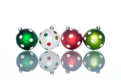 Colorful and ornate with Dot christmas ball Reflection Stock Photography