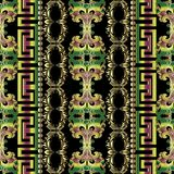 Colorful ornate vector greek seamless borders pattern. Ornamental floral striped background with ethnic style flowers, leaves, branches. Greek key meander vector illustration