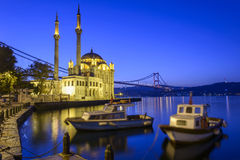 Colorful Ortakoy mosque and Bosphorus Bridge reflection on the sea Stock Images