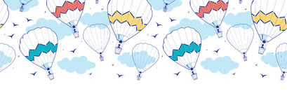 Colorful ot air balloons horizontal border Royalty Free Stock Image