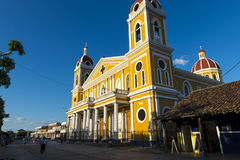 The colorful Our Lady of the Assumption Cathedral in the city of Granada, Nicaragua. Stock Images
