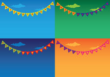 Colorful Outdoor bunting and garland sets Stock Image