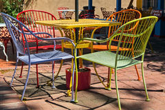 Colorful outdoor dining Stock Photo
