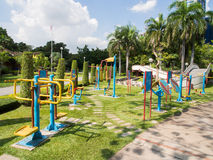 Colorful outdoor fitness equipment Royalty Free Stock Images