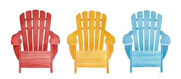 Colorful outdoor lounge chair collection. stock illustration