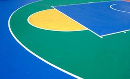 Colorful outdoor rubber basketball playground detail aerial view. Colorful outdoor rubber basketball playground aerial view royalty free stock photo