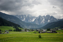 Colorful outdoor scene in the Austrian Alps. Summer sunny day in the Gosau village on the Grosse Bischofsmutze mountain, Austria Royalty Free Stock Image