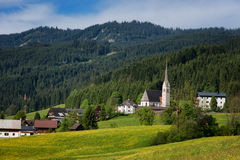 Colorful outdoor scene in the Austrian Alps. Summer sunny day in the Gosau village on the Grosse Bischofsmutze mountain, Austria Stock Photography