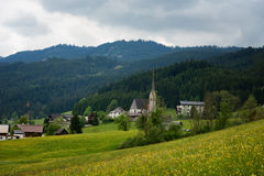 Colorful outdoor scene in the Austrian Alps. Summer sunny day in the Gosau village on the Grosse Bischofsmutze mountain, Austria Royalty Free Stock Photo