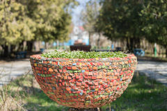 Colorful outdoor vase. In the park on a sunny day Stock Photos