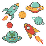 Colorful outer space stickers collection Royalty Free Stock Images
