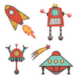 Colorful outer space stickers collection Royalty Free Stock Photography