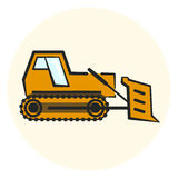 Colorful outline earth mover icon. Yellow bulldozer icon, flat transport object Stock Image