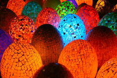 Colorful oval egg shaped lamps. In Egypt Royalty Free Stock Photos