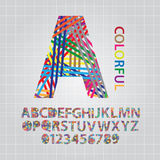 Colorful Overlap Line Alphabet and Numbers Vector Stock Images
