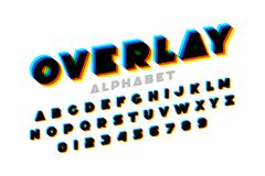 Colorful overlay font stock illustration